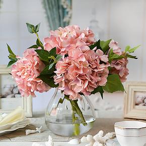 光影艺轩 加州绣球小水壶玻璃花瓶套装 仿真花假花艺餐桌娟花
