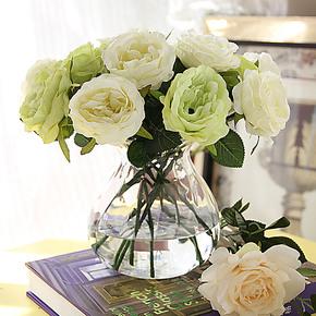 【光影艺轩】婚庆 欧式清新玫瑰套装仿真花艺 家居装饰花 假花