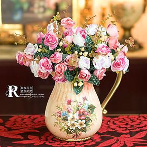 限量3折 欧式 彩绘花卉陶瓷奶壶+3束芬妮小玫瑰花 仿真花艺套装