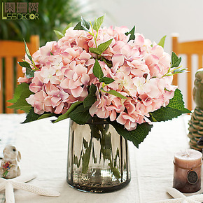 2杈绣球 高档仿真花 浮雕玻璃花瓶 整体花艺套装 假花绢花 包邮
