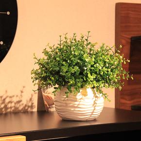 新品!wo+仿真花艺陶瓷花盆+尤加利叶套装家居饰品摆件现代简约