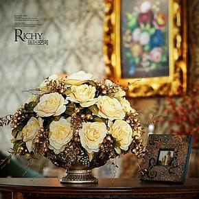 5折欧式仿真花套装 假花装饰花客厅花卉结婚礼物巴比伦爱丽丝台花