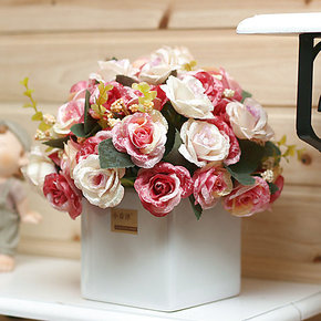 欧式玫瑰餐桌花 多款仿真花套装 客厅装饰花 绢花假花 整体花艺