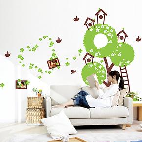 客厅卧室 卧室 沙发电视背景墙 大型墙贴创意家居壁纸大树