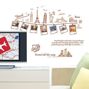 包邮 可移除照片墙贴纸 旅行 餐厅 客厅沙发背景电视墙卧室铁塔