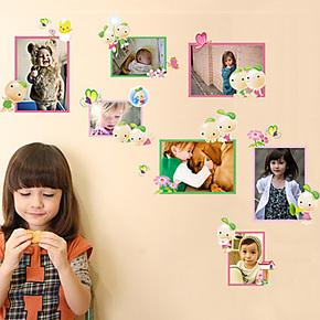 可移除墙贴纸 客厅卧室儿童房卡通可爱随心贴豆豆照片墙贴 AM820