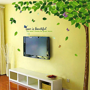 5折包邮 客厅 电视墙背景墙 大型绿树墙贴 客厅沙发墙 墙贴纸