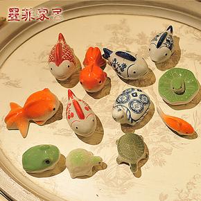 6个包邮 陶瓷小浮鱼欧式创意家庭家居装饰品小摆件摆设现代工艺品