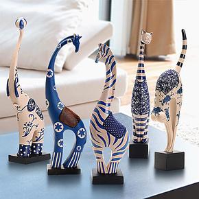 现代简约大象马鹿猫树脂客厅电视柜装饰品摆设家居创意摆件工艺品