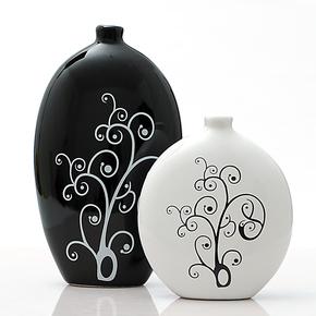 景德镇陶瓷器现代时尚创意抽象工艺品家居摆设装饰品摆件黑白花瓶
