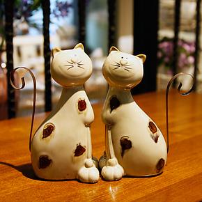美式乡村 高温陶瓷情侣小猫摆件2件套隔板装饰 家居饰品生日礼品