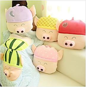 悦之恋 水果麦兜猪空调被 车载抱枕两用被 午睡被 夏凉被 礼物