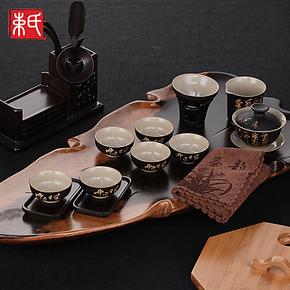 【束氏】汝窑茶具套装 茶具套组 茶壶茶杯 鸡翅木茶盘 实木茶盘