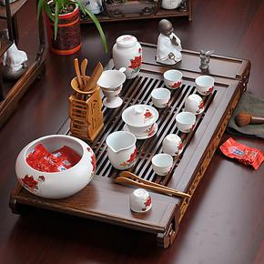 养生逸品瓷 陶瓷茶具套装 整套功夫茶具 鸡翅木茶盘/红木实木茶海