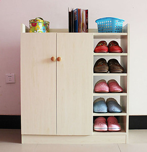 逸鑫姿 简易三列鞋柜 宜家大容量玄关 鞋柜子 鞋橱门厅对开门鞋柜
