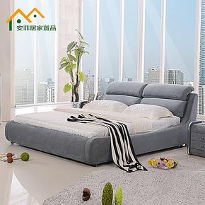 简约现代布艺床 双人床 可拆洗布床 软床 1.8 1.5米 储物床 婚床