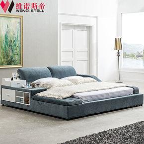 维诺斯帝 布床1.8米布艺软床榻榻米床 简约现代新款布艺床1009