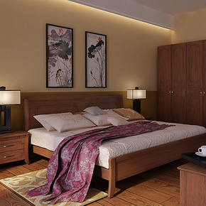 华日家居现代中式1.5/1.8米简约实木双人床 1.5米双人床特价床