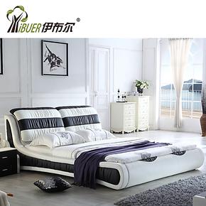 伊布尔皮软床 真皮床 软床 双人床 简约现代婚床 品牌床 1.8床603