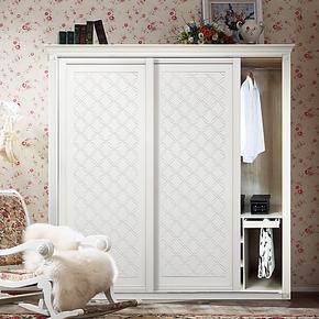 中雅衣柜欧式定制吸塑吊滑移门露水河板材木板式家具整体衣柜定做