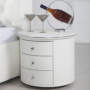 凹尚 白色皮床头柜 简约 时尚百搭 包皮床头柜 三层床头柜 2027