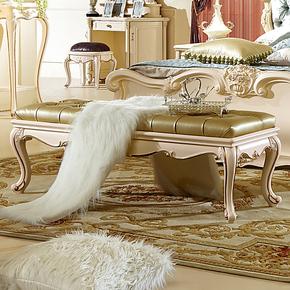 拓卡斯 欧式长坐凳  床前实木皮凳 换衣换鞋坐凳子 法式床尾凳