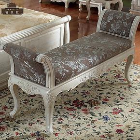 水曲柳床尾凳 欧式实木床踏 布艺软包床边凳田园象牙白长凳打折