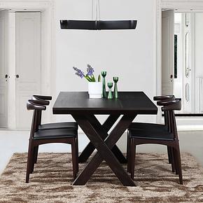 艾千 2013 新款 简约现代意大利红橡 方形实木X形腿餐桌 特价