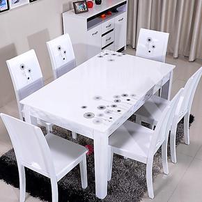 亮彩家具 2013现代简约餐桌 时尚白色烤漆实木大理石餐桌椅组合