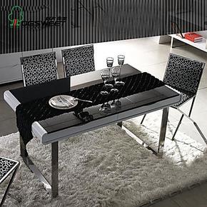 OGSWEET欧桂 烤漆餐桌简约现代烤漆餐桌不锈钢脚餐桌定制 OG-15