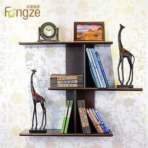 Fengze 实木书架简约创意置物架花架酒架宜家搁板壁挂隔板 FZ-032