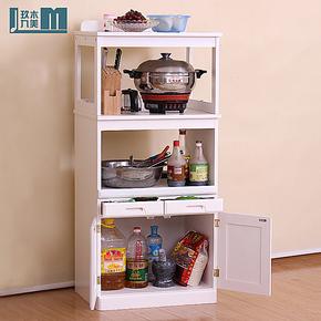 玖木九美家具 实木现代简约时尚特价厨房储物柜 微波炉架 餐边柜