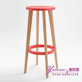 酷布斯 时尚简约木吧椅 酒吧椅 高脚凳 吧台凳 创意酒吧椅