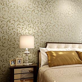 【预售】玉兰墙纸欧式莨苕叶珠光植绒客厅卧室背景墙壁纸