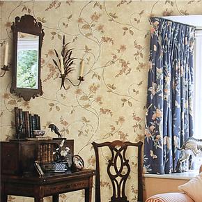 布吕克纳双面无纺布美式田园藤花壁纸卧室背景客厅餐厅墙纸B11-07