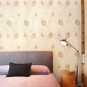 布吕克纳墙纸 现代时尚孔雀羽毛双面无纺布壁纸电视背景卧室AM-02