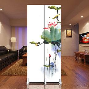 美心源  雅致时尚客厅 玄关书房办公室装饰屏风 2扇座屏 荷花