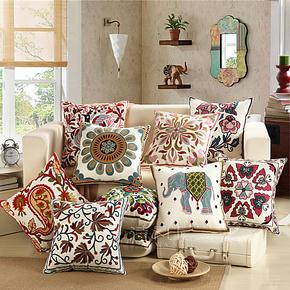 诗凡尼 精品民族风手工刺绣床头靠枕 方枕 汽车抱枕 沙发大靠垫