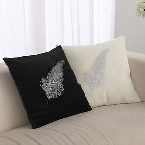 欧式 烫水钻羽毛 沙发抱枕套 靠垫套床上汽车靠枕 正想软家装饰品