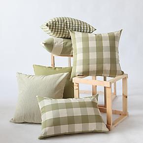 诺与思家纺 正品英伦格子靠枕咖色 办公室抱枕 床头沙发靠垫 包邮