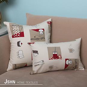 【卡奇诺/红】纯棉印花靠垫 沙发/床头靠枕抱枕靠垫套 定制
