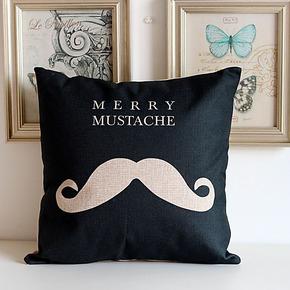 欧式时尚胡子设计【棉麻抱枕】 简约抱枕办公室靠垫靠枕沙发垫