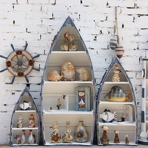 地中海家居风格装饰摆设实木渔船套三展示柜/展示架/挂柜
