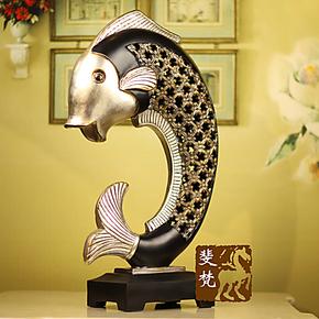 斐梵欧式美式饰品家居礼品树脂工艺品饰品年年有鱼玄关电视柜摆件