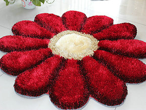 红色花朵地毯 花卉地毯 红色新房毯 异形床前毯 卧室毯 1米*1米