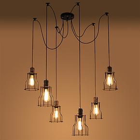 Loft 美式乡村工业复古 创意餐厅设计师首选 复古六灯小铁架吊灯