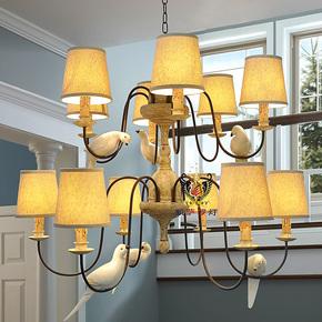 美式乡村吊灯客厅灯小鸟吊灯餐厅灯双层美式吊灯铁艺时尚创意灯饰