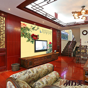 万美瓷砖 电视背景墙瓷砖 客厅艺术壁画砖 雕刻仿古砖 赏牡丹