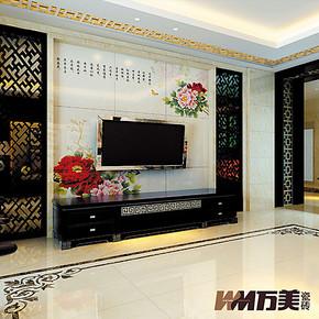 万美瓷砖 电视背景墙瓷砖 客厅艺术壁画砖 雕刻仿古砖 花开富贵