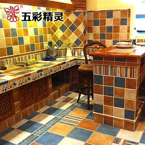 五彩精灵 仿古砖 美式乡村风格 卫生间 厨房阳台 彩条 门槛石瓷砖